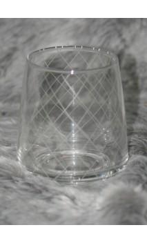Glass tumbler geruit 10 cm hoog