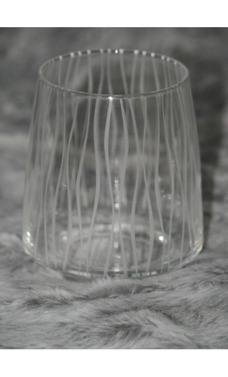 Glass tumbler verticale lijnen 10 cm