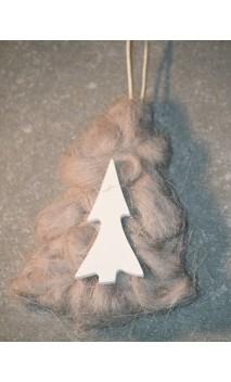grijs wollen kerstboom 10 cm