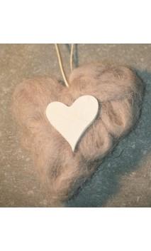 grijs wollen hart 10 cm