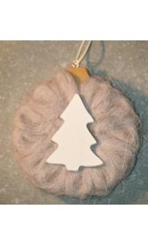 Grijs wollen cirkel met kerstboomopdruk 10 cm