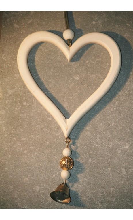 Wit houten hanger hart met belletje 15 cm