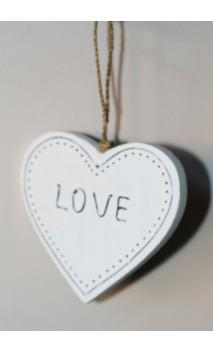 """Hanger Hartje """"LOVE"""" wit, 9 cm"""