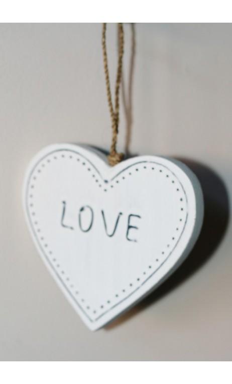 Wit houten hanger LOVE 9 cm
