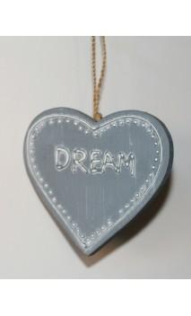"""Hanger Hartje """"DREAM"""" grijs 9 cm"""