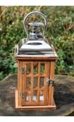 Luxe houten lantaarn met aluminium kap en hengsel, 15 x 32 cm