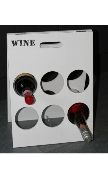 Wit houten wijnrek