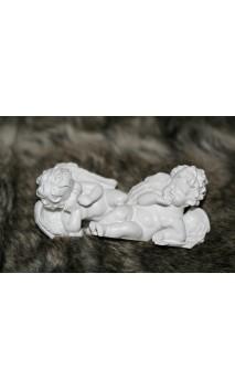 Twee liggende engeltjes, set van 2. ca. 8 cm