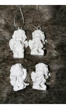 Set van 4 engeltjes: 2 hangend, 2 knielend