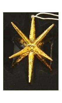 Goudkleurige glazen decoratiehanger /ster ca. 10 cm