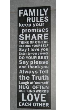 Tekstbord Family Rules