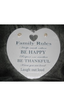 "Tekstbord wit hart: ""Family Rules"" 30 x 40 cm"