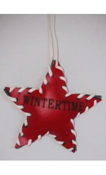 """Leren rode ster kerstboomhanger """"Wintertime"""""""