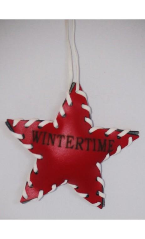 Leren rode kerstboomhanger WINTERTIME