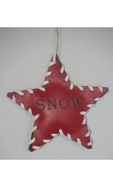 Rood leren ster kerstboomhanger met opdruk SNOW