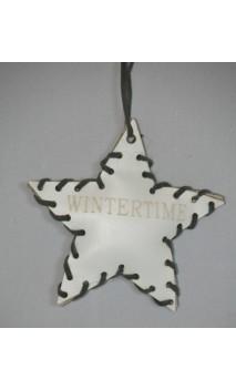 Wit leren ster kerstboom hanger met opdruk WINTERTIME 10 cm