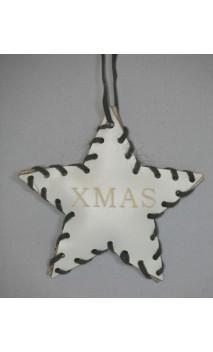 Wit leren ster kerstboomhanger met opdruk XMAS 10 cm
