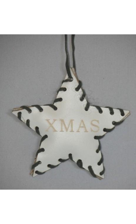 Wit leren ster kerstboom hanger met opdruk XMAS 10 cm