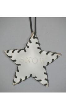 Wit leren ster kerstboomhanger met opdruk SNOW 10 cm