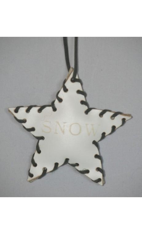 Wit leren ster kerstboom hanger met opdruk SNOW 10 cm