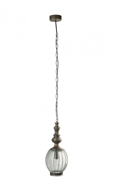 Hanglamp bol met /gl gri 22 x 22 x 155 cm