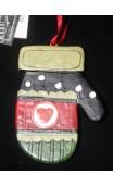 Handschoen ornament hangend 8 cm, hartje voorzijde
