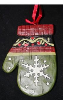Handschoen ornament hangend 8 cm, sneeuwvlok