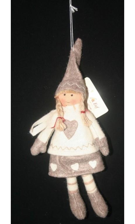 Winterpop meisje hangend 20 cm