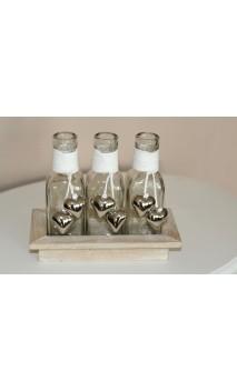 Flessen met hartjes in houten tray 16 x 9 cm
