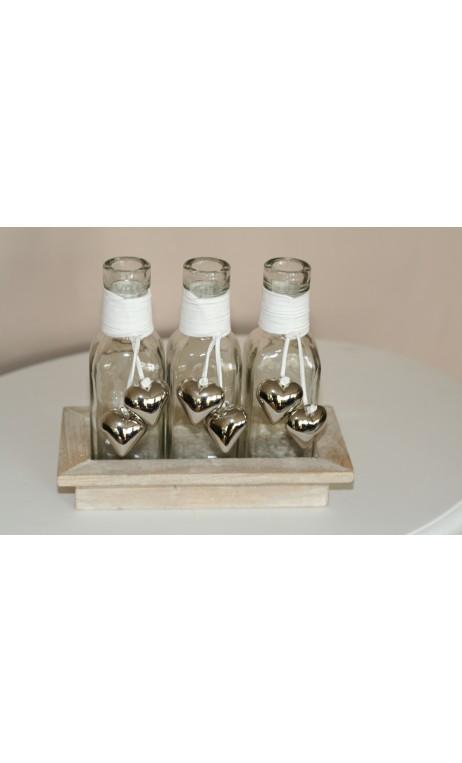 Flessen met munten in houten tray 30 x 12 cm