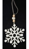 Sneeuwvlok hout, wit (2stuks) 10cm hoog