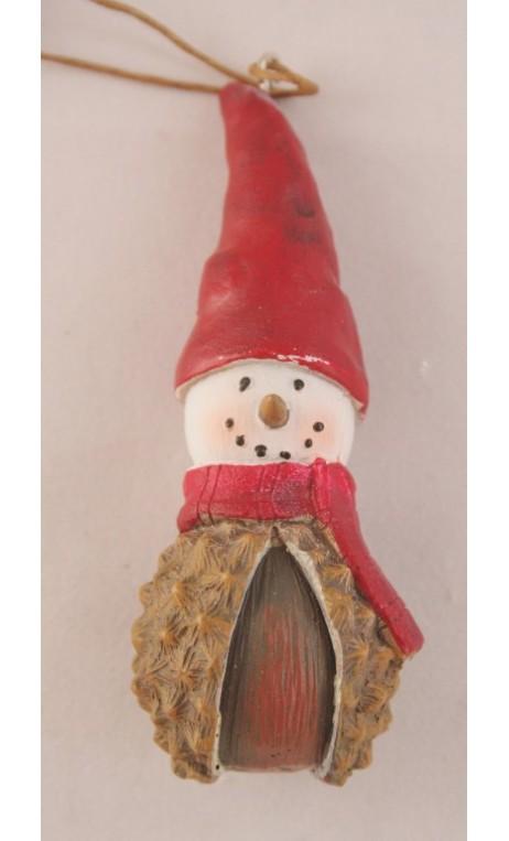 Denappel sneeuwpopje hangend 10 cm