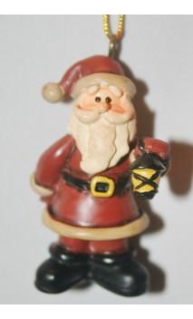 Kerstman 6 cm, lantaarn in hand, hangend