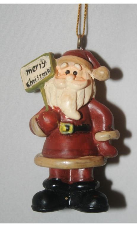 Kerstman 6 cm, bordje merrychristmas in hand