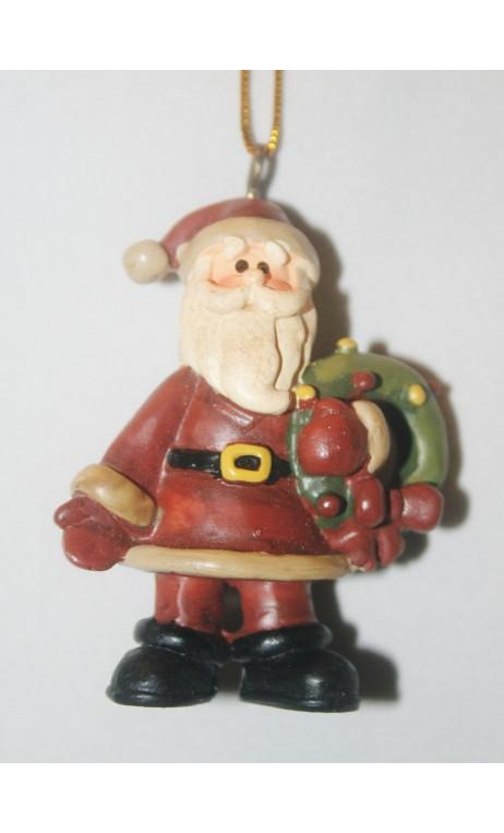 Kerstman 6 cm, kerstkrans om de arm, hangend