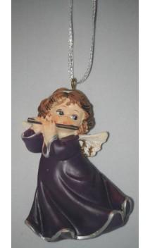 Engel violet ca. 6 cm hangend met dwarsfluit