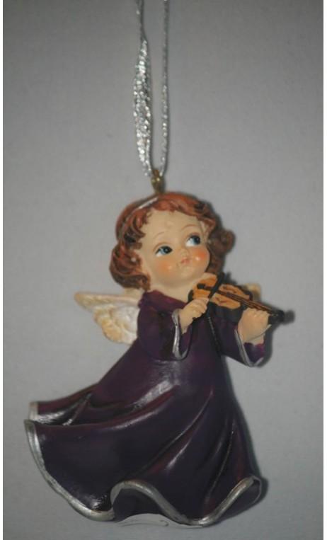 Engel violet ca. 6 cm hangend met viool