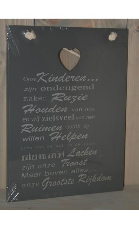"""Tekstbord grijs """"Onze Kinderen"""" 26 x 35 cm"""