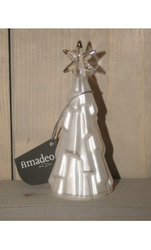Glazen witte kerstboom Amadeo 12 cm hoog