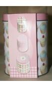 Set van drie voorraadblikken roze /cupcakes 13 x 10 cm