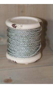 Kandelaar laag zilver touw, off white 12 x 12 cm
