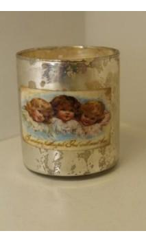 Geurkaars in glazen houder met engelenopdruk 7 x 7,5 cm