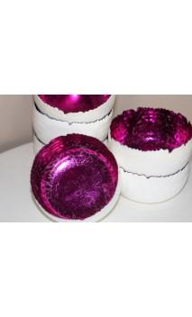 Metalen waxinehouder WIT buiten/ binnenzijde rozen+turkoois