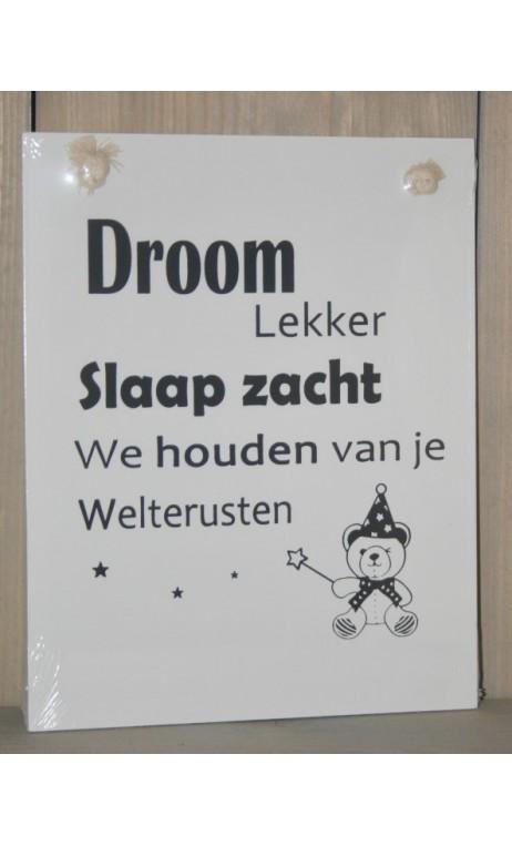 "Tekstbord: "" Droom Lekker"" 20 x 25 cm"