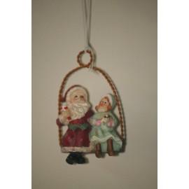 Decoratie santa op schommel met meisje 7 cm