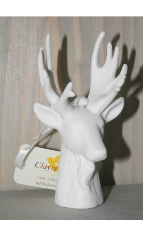 Wit keramieke rendier hoofd 11 cm